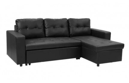 Genuine Leather Chaise Sofa Black