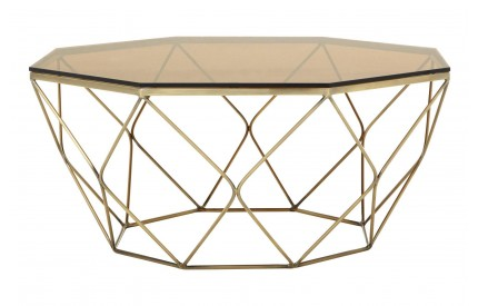 Premium Coffee Table Amber Smoked Glass Brushed Bronze