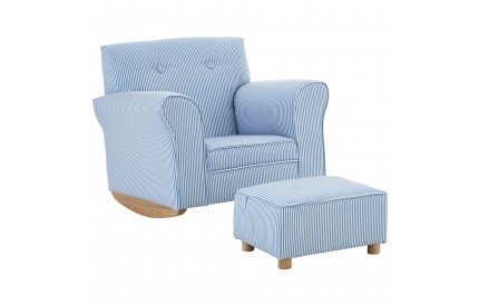 Kids Rocker With Footstool Blue / White Stripe