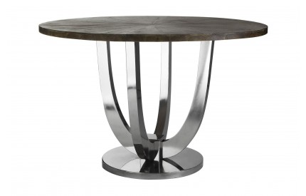 Greenwich Dining Table Round Fir Wood / Stainless Steel