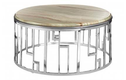 Relic Round Coffee Table Onyx Stone Stainless Steel Base
