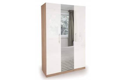 Moore High Gloss 3 Door Mirror Wardrobe