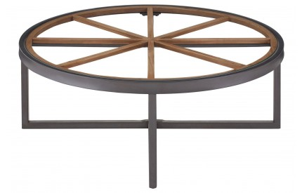 Trinity Round Coffee Table Fir Wood / Iron Glass Top