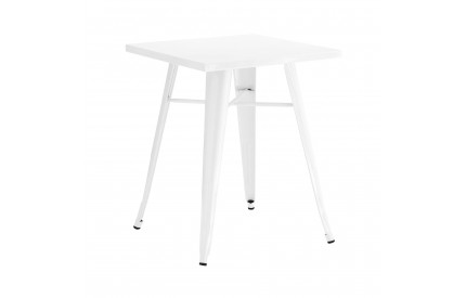 Cuboid Table Metal White Powder Coated