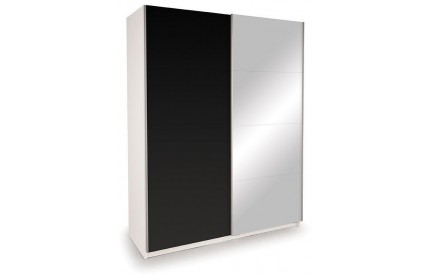 Vermont White Slider Mirror + High Gloss Black Doors