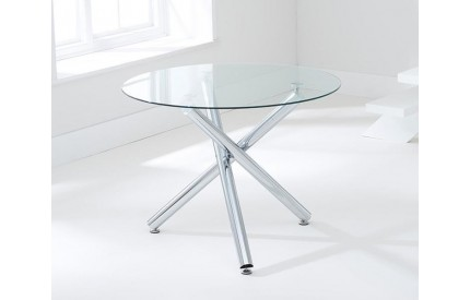 Alder Dining Table Chrome & Clear Glass