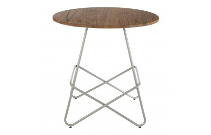 Precinct Round Table Grey Metal and Elm Wood