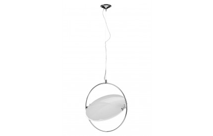 Lunar Pendant Light White Glass/Chrome Fitting