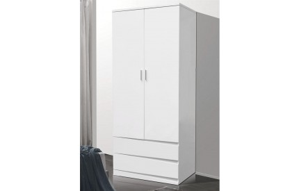 Lenton/Whitney White High Gloss Wardrobe 2 Drawers