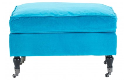 Plush Footstool Teal Cotton Velvet Birchwood Legs With Wheels