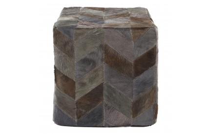 Lauren Pouffe Genuine Cowhide Leather Light Grey Patchwork