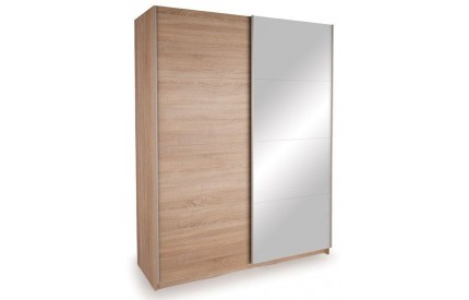 Vermont Oak & Mirror Sliding Wardrobe