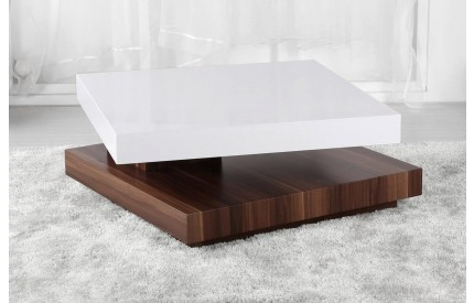 High Gloss Moveable Coffee Table White & Walnut