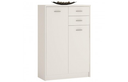 4 You Tall 2 Door 2 Drawer Cupboard in Pearl White