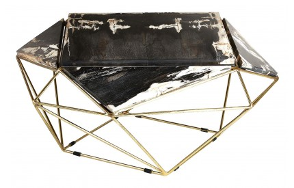 Newcity Coffee Table Dark Petrified Wood Brass Finish Iron Base