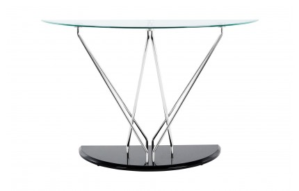 Grate Console Table Cross Shape / Oval Glass / Chrome / Black Base