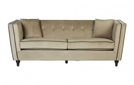 Bueler 3 Seat Sofa Mink Velvet Brown Piped Trim