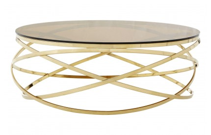 Allure Round Coffee Table Amber Smoked Glass Champagne Gold Base