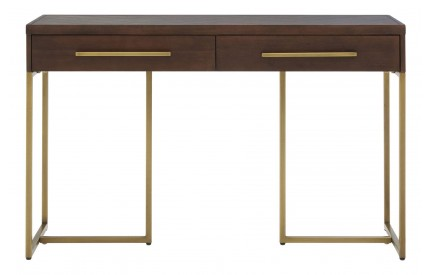 Orlando Console Table Acacia Veneer / Antique Brass 2 Drawers