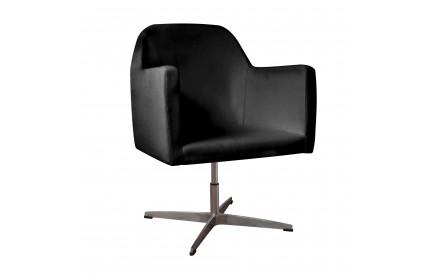 Oskar Chair Black Leather Effect Chrome Finish Base