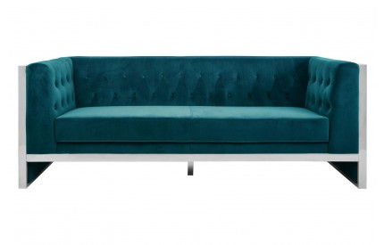 Pose 3 Seat Sofa Teal Velvet Stainless Steel Frame