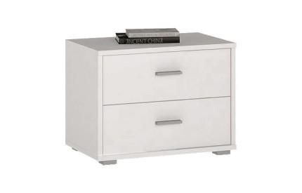 4 You 2 Drawer Low Bedside Pearl White