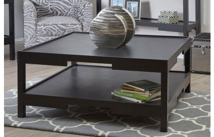 Osaka Coffee Table Black MDF With Shelf
