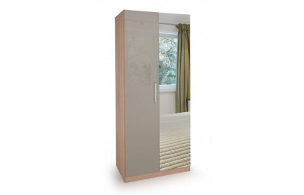 Rosemary High Gloss 2 Door Mirror Wardrobe