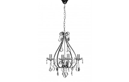 Dominique Chandelier Chrome Iron Frame/Crystal/Glass 4 Arm