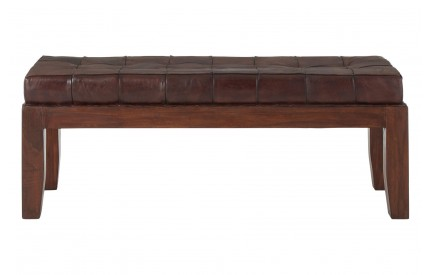 Inca Stitch Bench Antique Brown Leather Teak Legs