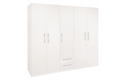 Arrow 5 Door 2 Drawer White Wardrobe
