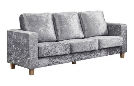 Simple 3 Seater Sofa Crushed Velvet Silver