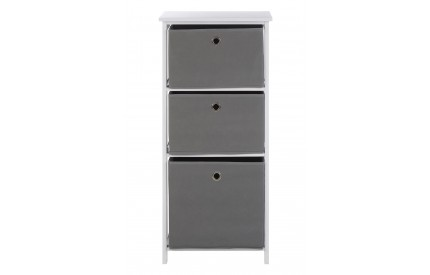 Lindo Cabinet 3 Grey Fabric Chest of Drawers