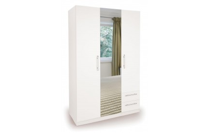 Arrow 3 Door 2 Drawer Mirror White Wardrobe