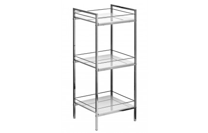 Shelf Unit 3 Tier White High Gloss Chrome Finish Frame