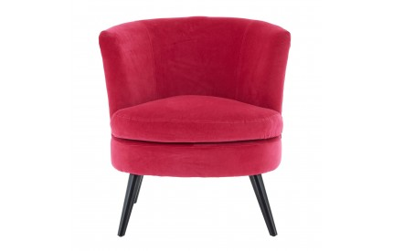 Round Plush Armchair Pink Cotton Velvet Birchwood Legs