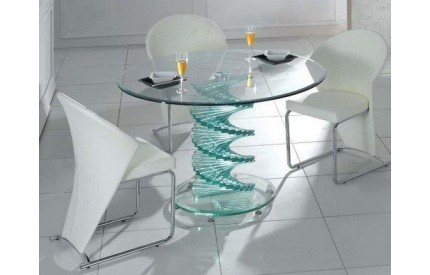 Swirl Glass Dining Table Clear