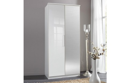 Topper High Gloss White Wardrobe 2 Door Mirror