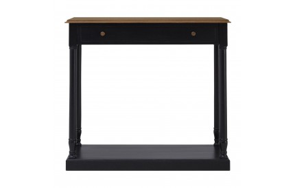 French Console Table 1 Drawer / Bayur Wood Black / Natural Top