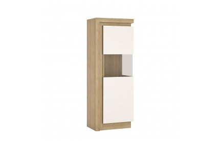 Lyon Narrow Display Cabinet (RH) 165cm White Gloss