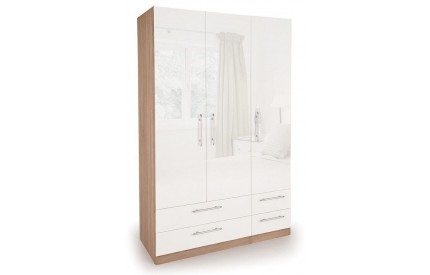 Moore High Gloss 3 Door 4 Drawer Wardrobe