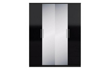 Topper High Gloss Black 4 Door Wardrobe Mirror