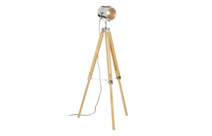 Bray Floor Lamp Wood / Chrome Tripod Base