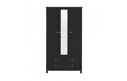 Florence 3 Door 4 Drawer Mirrored Wardrobe Black