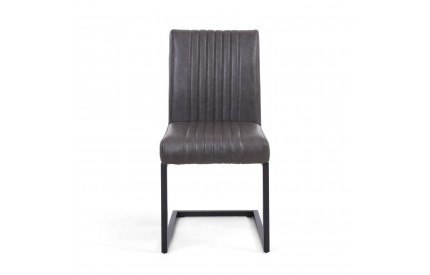 Archer Cantilever Leather Match Grey Dining Chair by Shankar