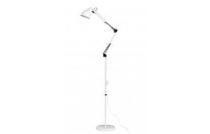 Floor Lamp Adjustable White Metal