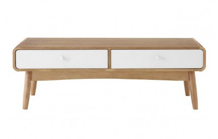 Malmo Coffee Table 2 Drawers White Oak Veneer
