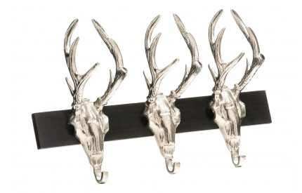 3 Stag head Hanger Nickel Finish/Brown Wood Wall Mountable