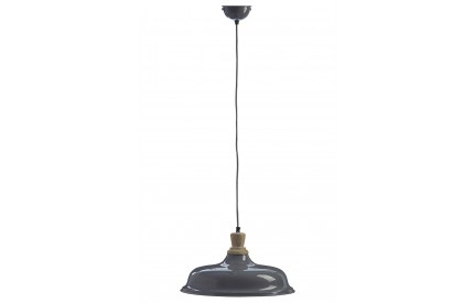 Norway Small Pendant Light Iron / Wood Grey