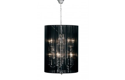 Calice 10 Arm Chandelier Crystal Glass Droplets Chrome Effect / Black String Shade